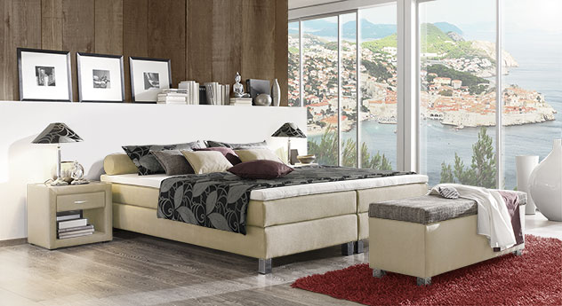 boxspringbett ohne kopfteil mit stoff g nstig tiberio. Black Bedroom Furniture Sets. Home Design Ideas