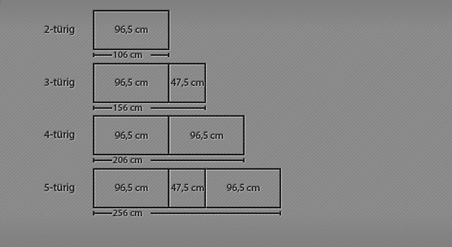 Breitenansicht vom 2- bis 5-türigen Drehtüren-Kleiderschrank Moa
