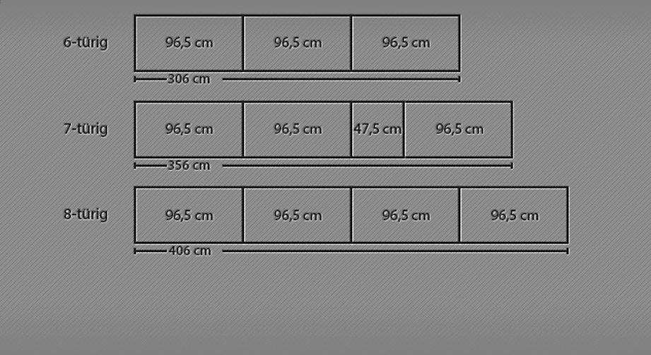 Breitenansicht vom 6- bis 8-türigen Drehtüren-Kleiderschrank Moa