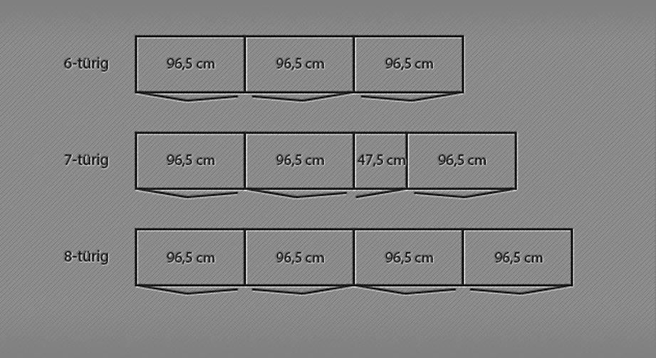 Grafik der Breitenansicht des Falttüren-Kleiderschranks Dartford von 6- bis 8-türig
