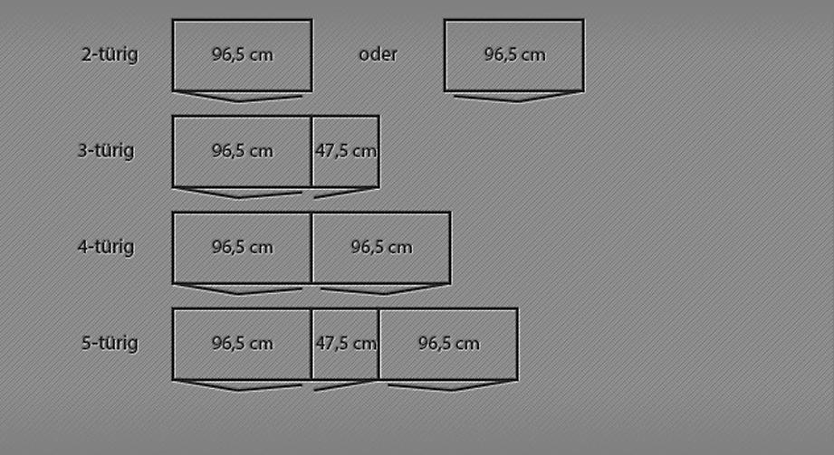 Grafik der Breitenansicht des Falttüren-Kleiderschranks Morley von 2 bis 5-türig