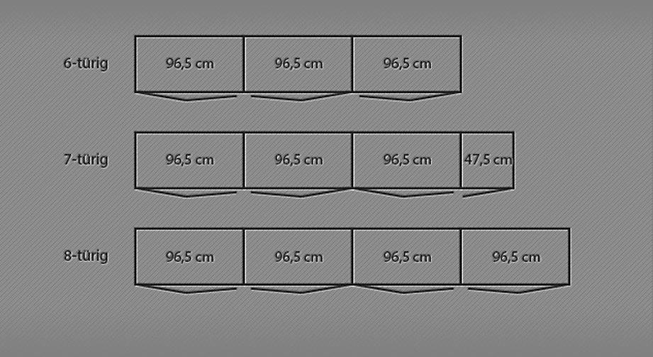 Grafik der Breitenansicht des Falttüren-Kleiderschranks Morley von 6 bis 8-türig