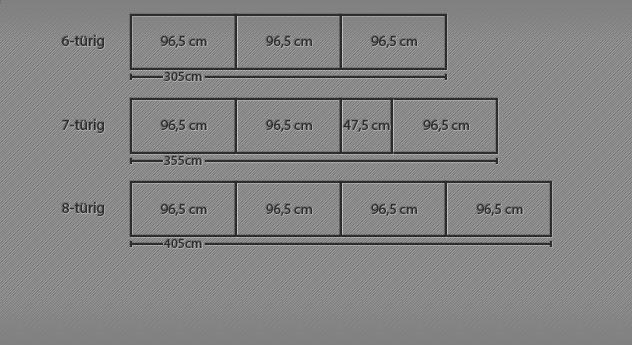 Breitenansicht der Drehtüren-Kleiderschränke Fria bis zur 8-türigen Variante