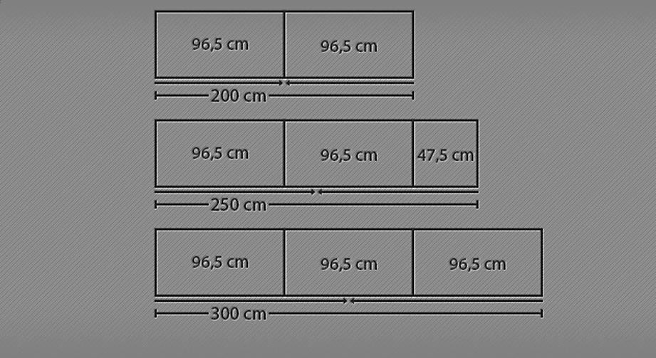 Abmessungen des Schwebetüren-Kleiderschranks Huddersfield mit Kristallstein-Applikation