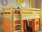 halbhohes h tten hochbett f r jungen kids paradise. Black Bedroom Furniture Sets. Home Design Ideas