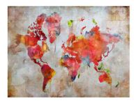 Buntes Wandbild World I im Vintage-Look