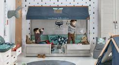 LIFETIME Kinderbett mit angebautem Sofa und Dach - Ferienhaus