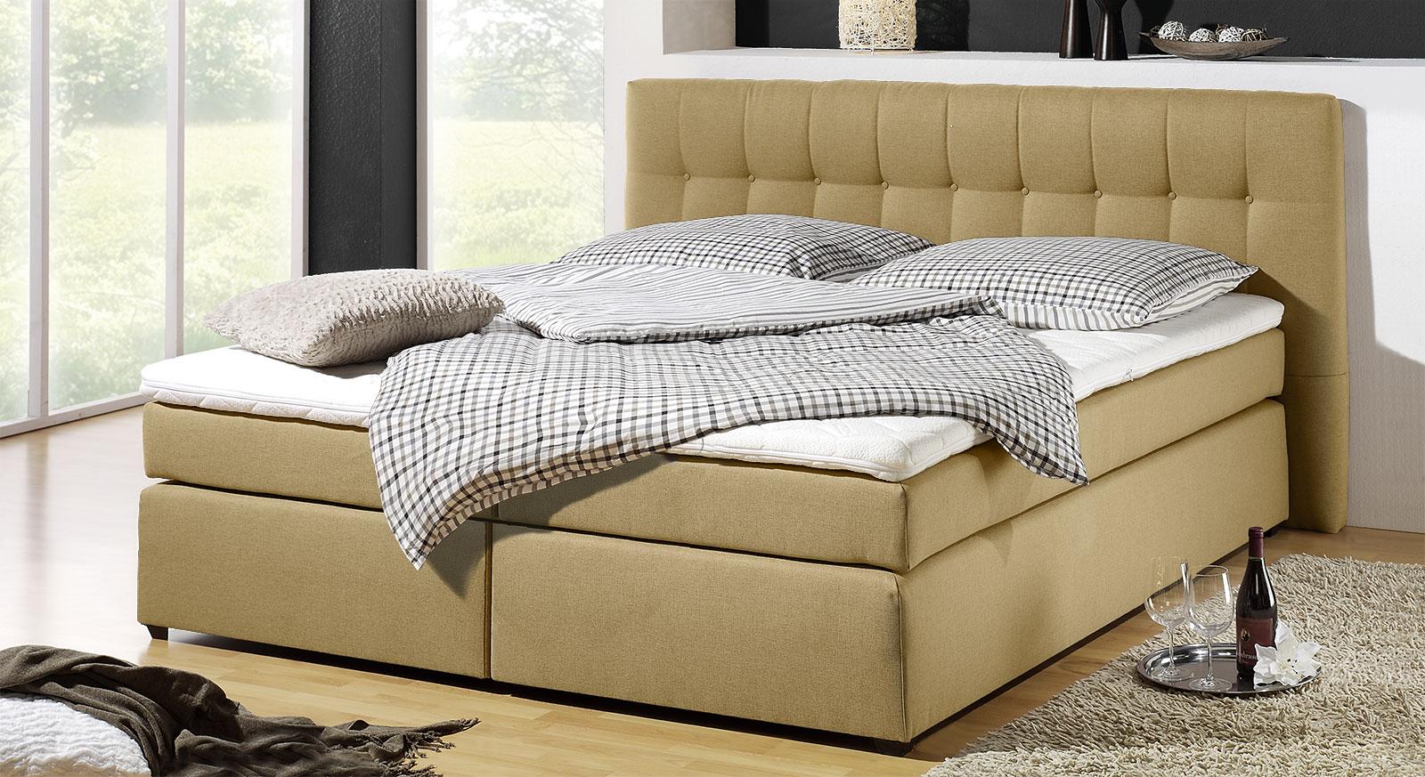 Spring-Box-Bett Chicago mit jutefarbenem Stoffbezug