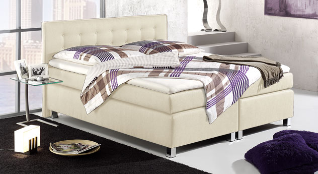 Boxspringbett Dallas in Creme