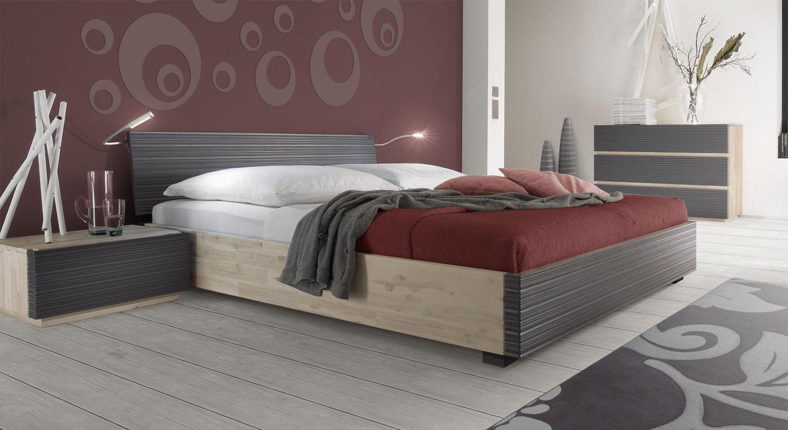 Doppelbett Ancona aus massivem Akazienholz in Anthrazit