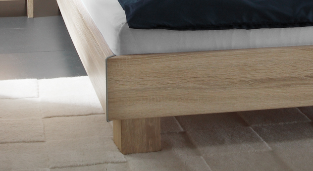 doppelbett aus mdf mit wei em kopfteil legano. Black Bedroom Furniture Sets. Home Design Ideas