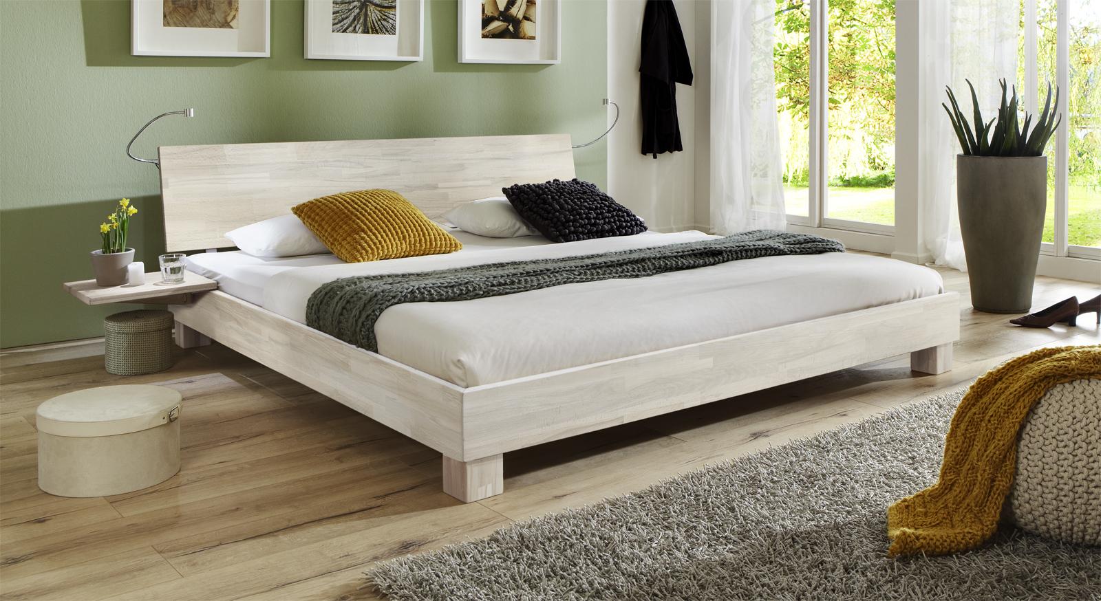 Doppelbett Lesina in Buche weiss lackiert