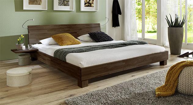 Doppelbett Lesina in Buche wengefarben lackiert