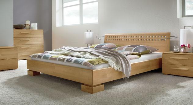 Modernes Doppelbett Lima aus hochwertig verarbeitetem Buche natur