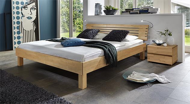 Massivholz-Doppelbett Livenza in Buche natur