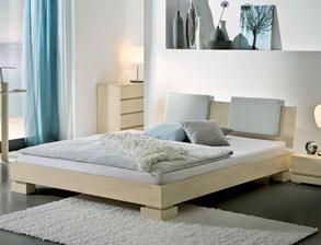 Doppelbett Paradiso Bianco Aus Massiver Buche, Hier Mit Weißer Oberfläche