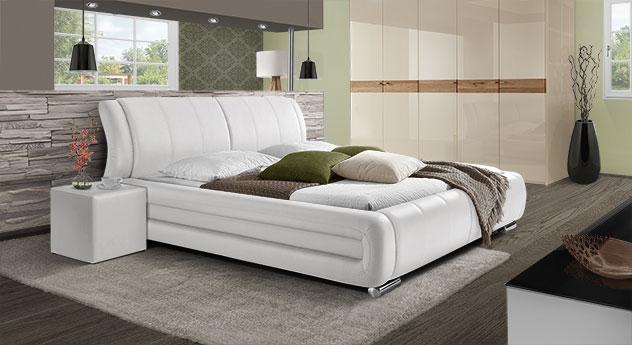 Doppelbett Petersfield in weißem Kunstleder