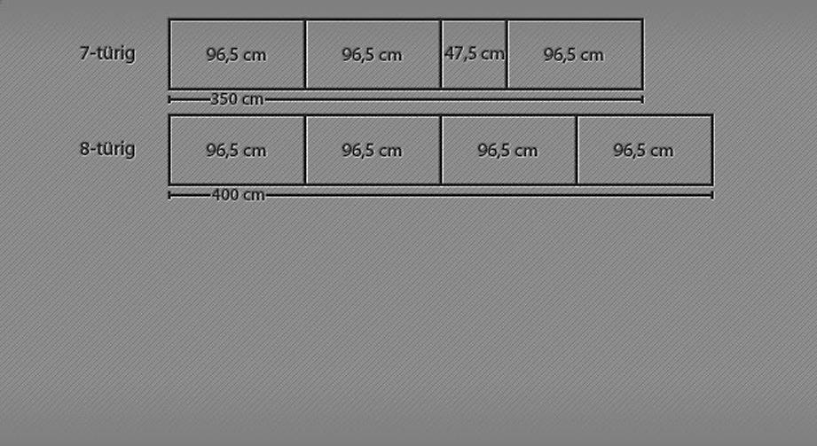 Breitenansicht des Drehtüren-Kleiderschranks Ageo ab 7 Türen