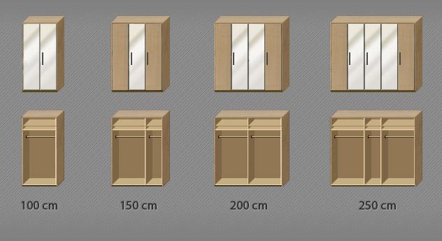 Drehtüren-Kleiderschrank Dabola inklusive Spiegeltüren