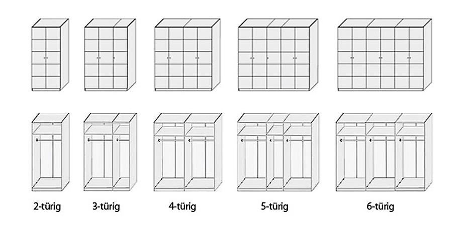 Drehtueren-Kleiderschrank Karan Aufbau der Varianten