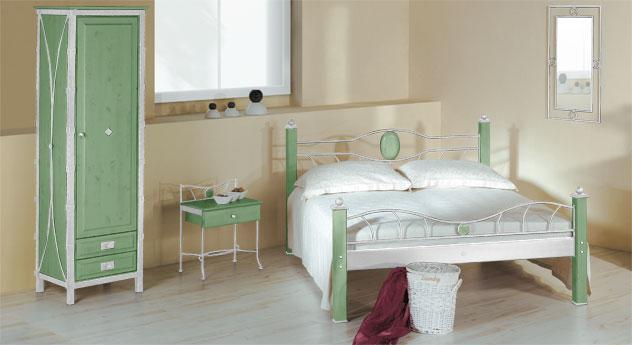 Eintüriger Drehtüren-Kleiderschrank Lavia in Grün und Weiß-Silber