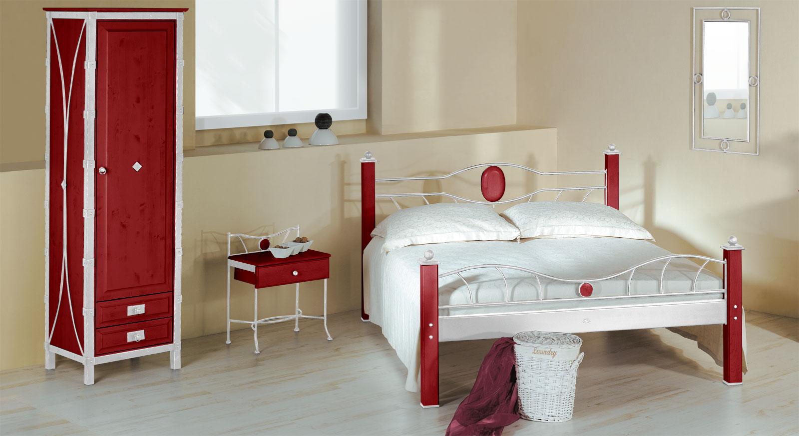 Eintüriger Drehtüren-Kleiderschrank Lavia in Rot und Weiß-Silber