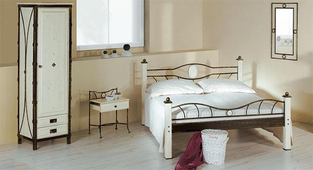 Eintüriger Drehtüren-Kleiderschrank Lavia in Weiß und Braun-Gold