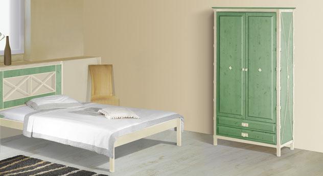Zweitüriger Drehtüren-Kleiderschrank Lavia in Grün und Creme-Gold