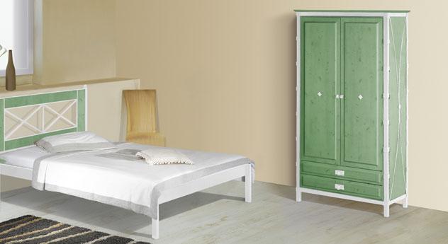 Zweitüriger Drehtüren-Kleiderschrank Lavia in Grün und Weiß-Silber