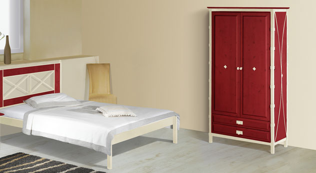 Zweitüriger Drehtüren-Kleiderschrank Lavia in Rot und Creme-Gold