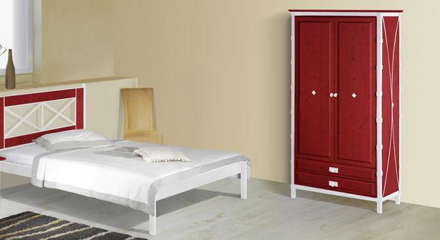 Zweitüriger Drehtüren-Kleiderschrank Lavia in Rot und Weiß-Silber