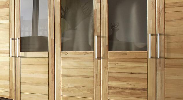 Drehtueren-Kleiderschrank Luba mit modernen Griffen