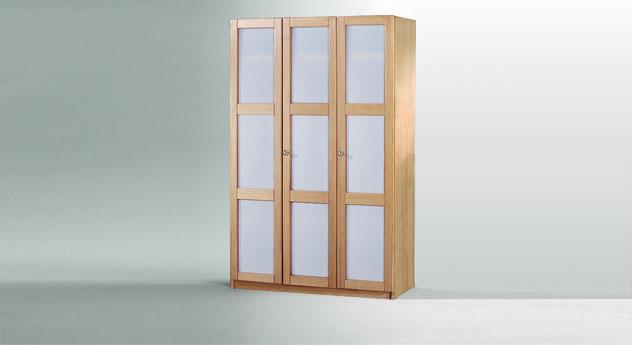 Drehtueren-Kleiderschrank Mira dreituerig als Variante 1 mit Glasfront