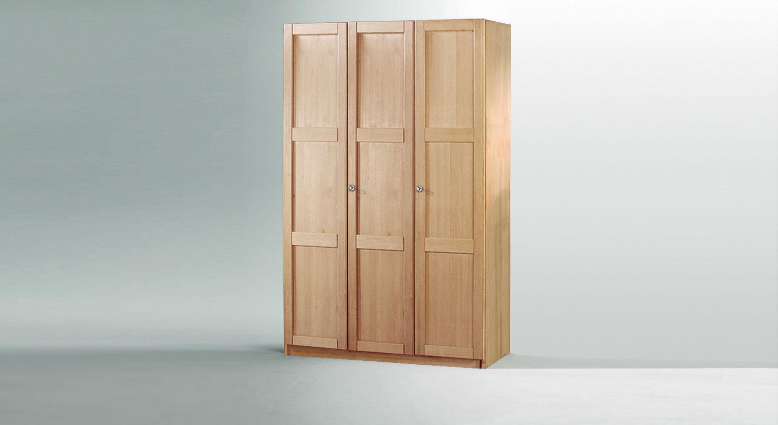 Drehtueren-Kleiderschrank Mira dreituerig als Variante 1 mit Holzfront