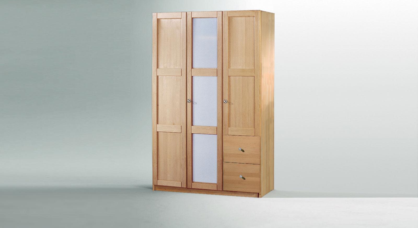 Drehtueren-Kleiderschrank Mira dreituerig als Variante 2 mit Glas Holz Mix