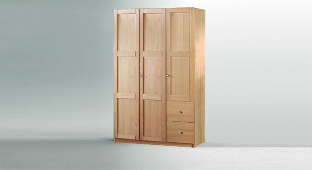 Drehtueren-Kleiderschrank Mira dreituerig als Variante 2 mit Holzfront