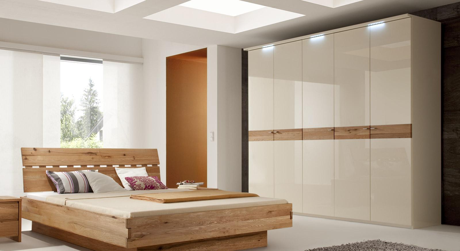 hochglanz kleiderschrank mit eichen applikationen - orlando, Schlafzimmer entwurf