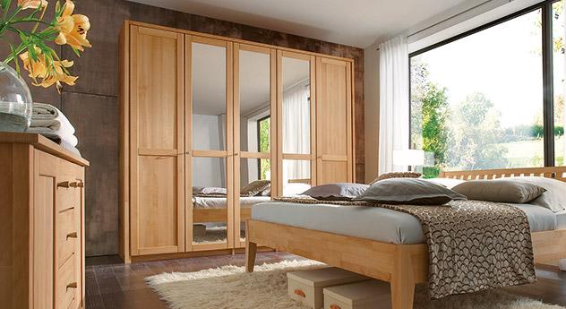 Drehtueren-Kleiderschrank Triest aus Buchenholz mit Spiegeltueren