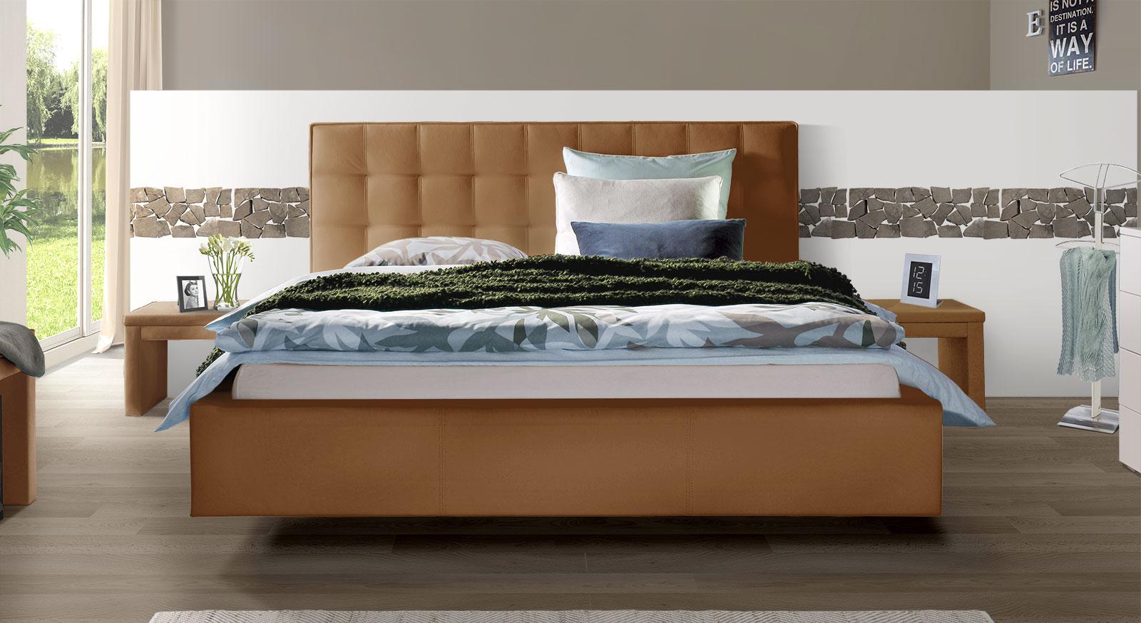 Echtleder-Bett Marim in Kamelbraun mit Kopfteil in 105cm