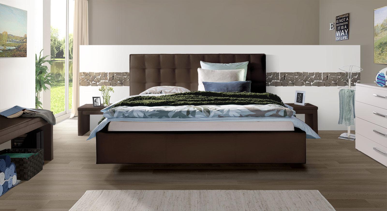 Echtleder-Bett Marim mit passenden Produkten