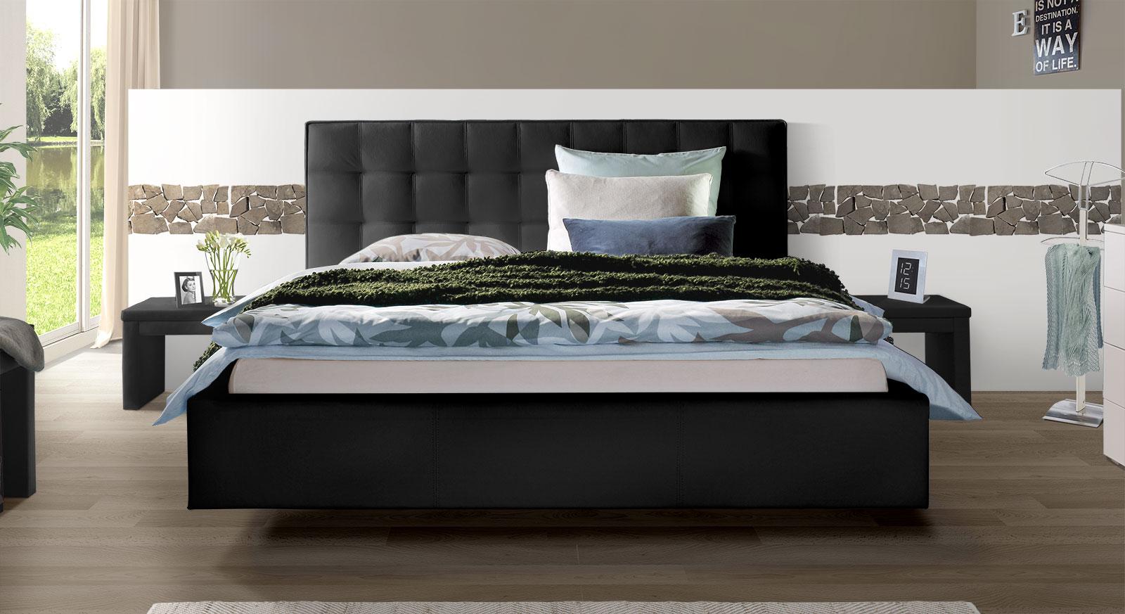 Echtleder-Bett Marim in Schwarz mit Kopfteil in 105cm