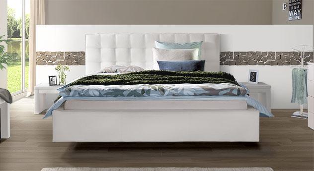 Echtleder-Bett Marim in Weiß mit Kopfteil in 105cm