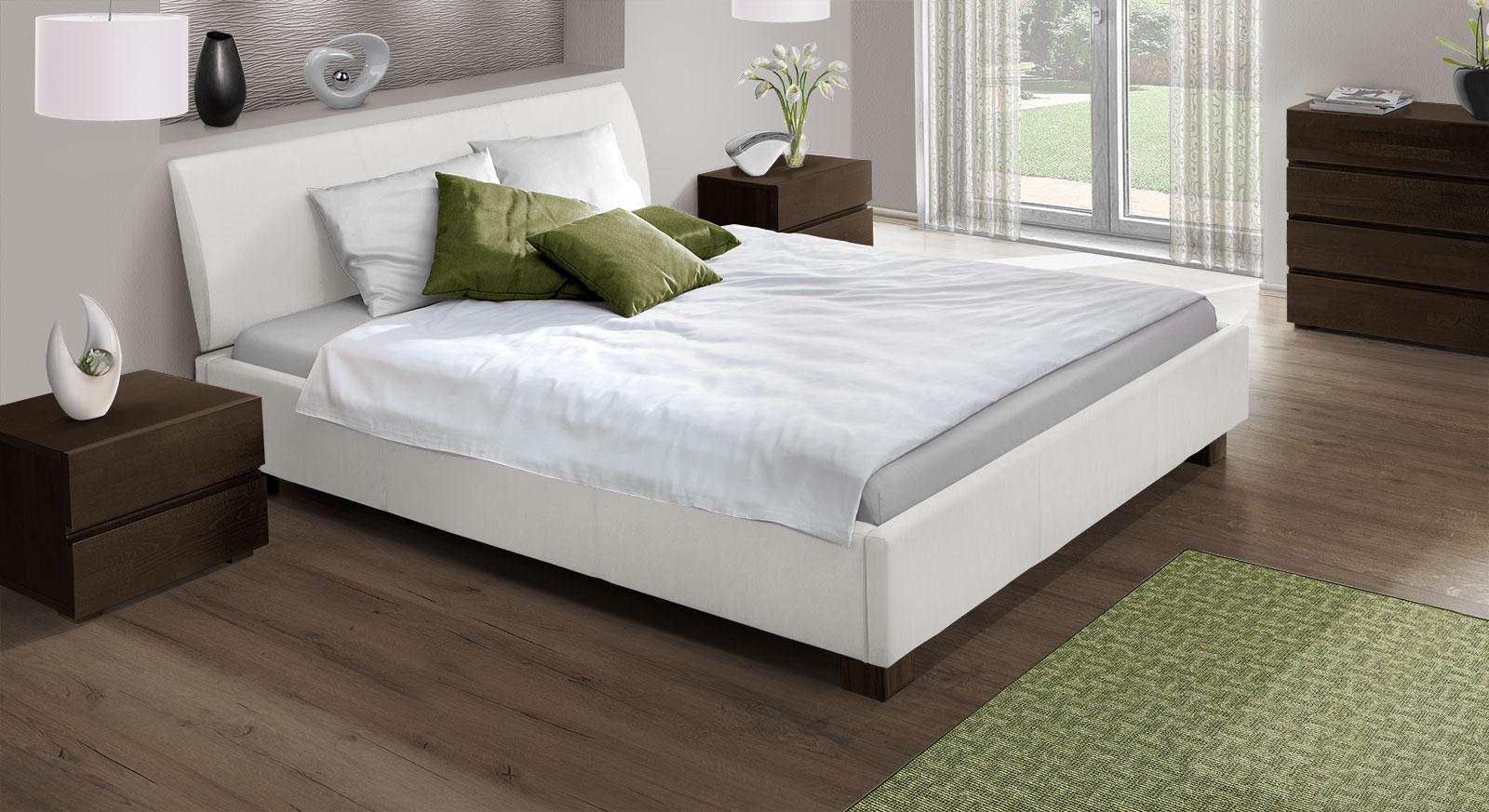 Modernes Echtlederbett Serpa in Weiß