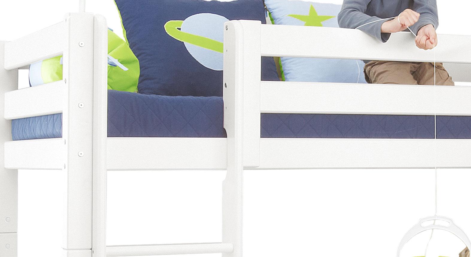 Etagenbett Absturzsicherung : Eck etagenbett in weiß aus massivem kiefernholz kids royalty