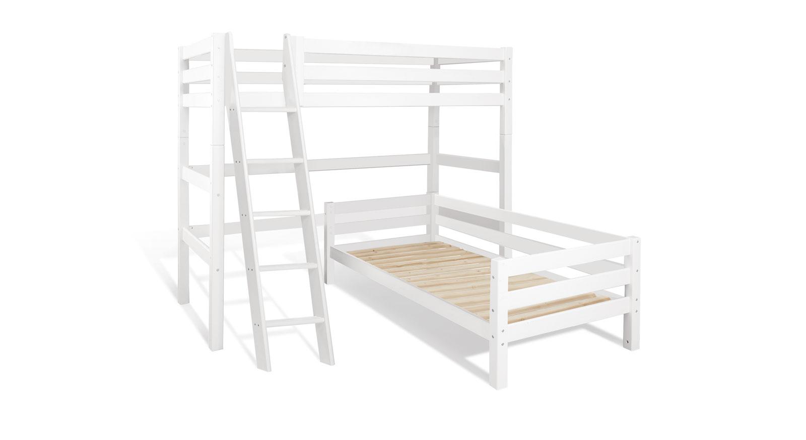 Etagenbett Leiter Schräg : Eck etagenbett in weiß aus massivem kiefernholz kids royalty