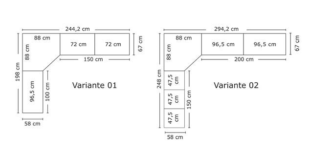 Breitenverhältnisse des Eck-Kleiderschranks Banga