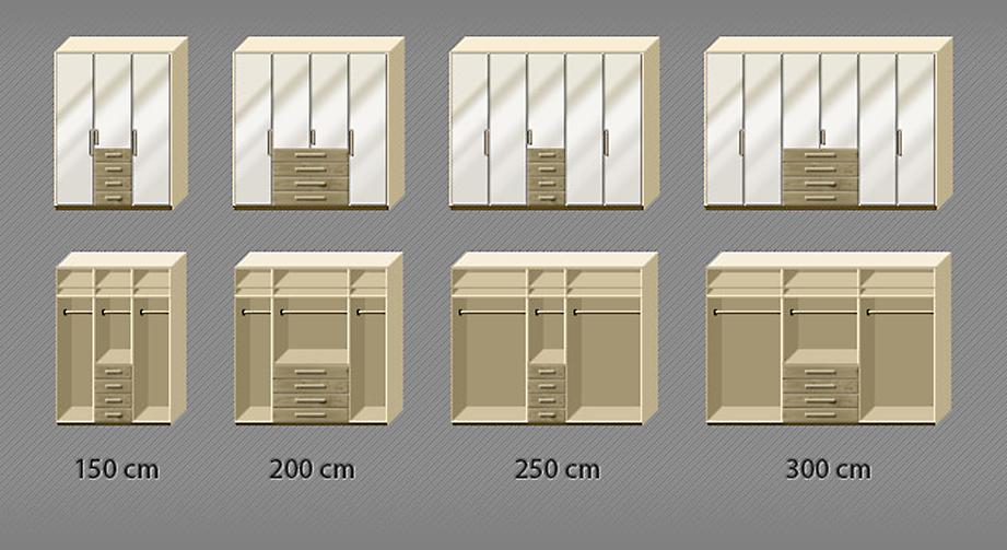Grafik der Inneneinteilung des Kleiderschranks Dartford in Eiche und Magnolie von 3- bis 6-türig