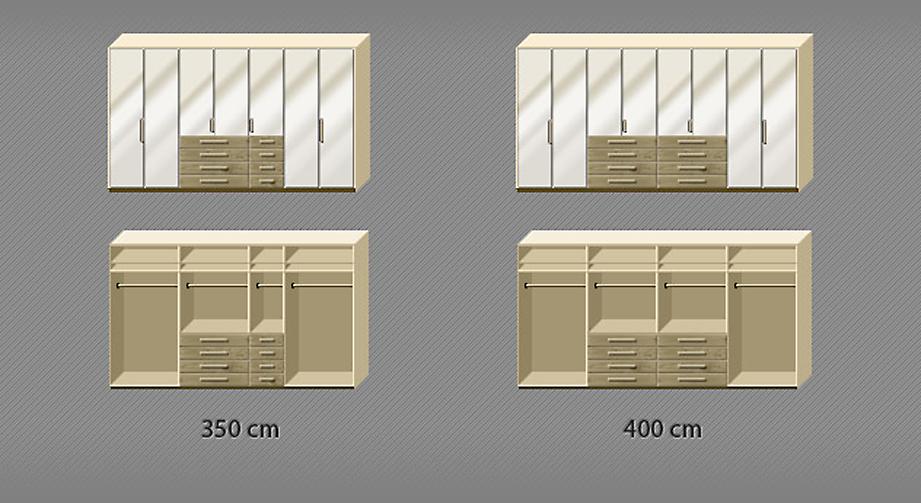 Grafik der Inneneinteilung des Kleiderschranks Dartford in Eiche und Magnolie von 7- bis 8-türig