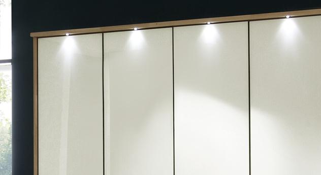 Eiche-Kleiderschrank Dartford in Magnolie mit Passepartout-Rahmen