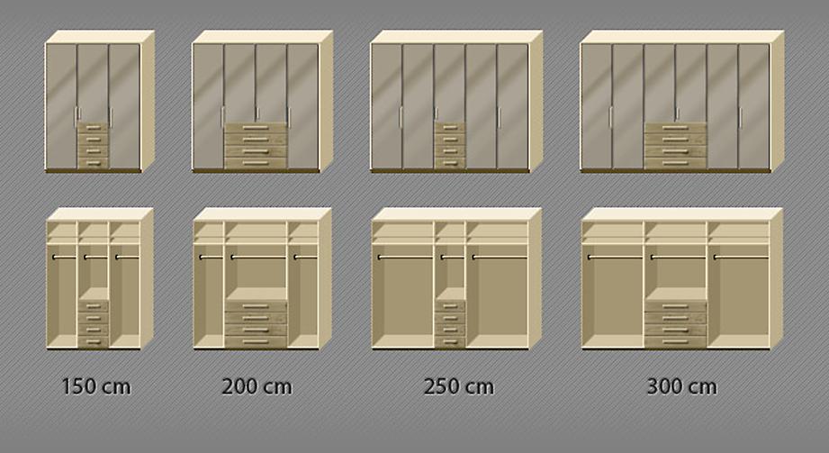 Grafik der Inneneinteilung des Eiche-Kleiderschranks Dartfords mit Sahara-Glas von 3 bis 6-türig